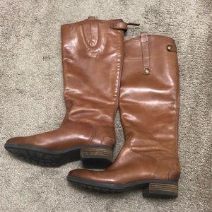 Sam Edelman Penny Cognac Leather Boots - Size 7.5